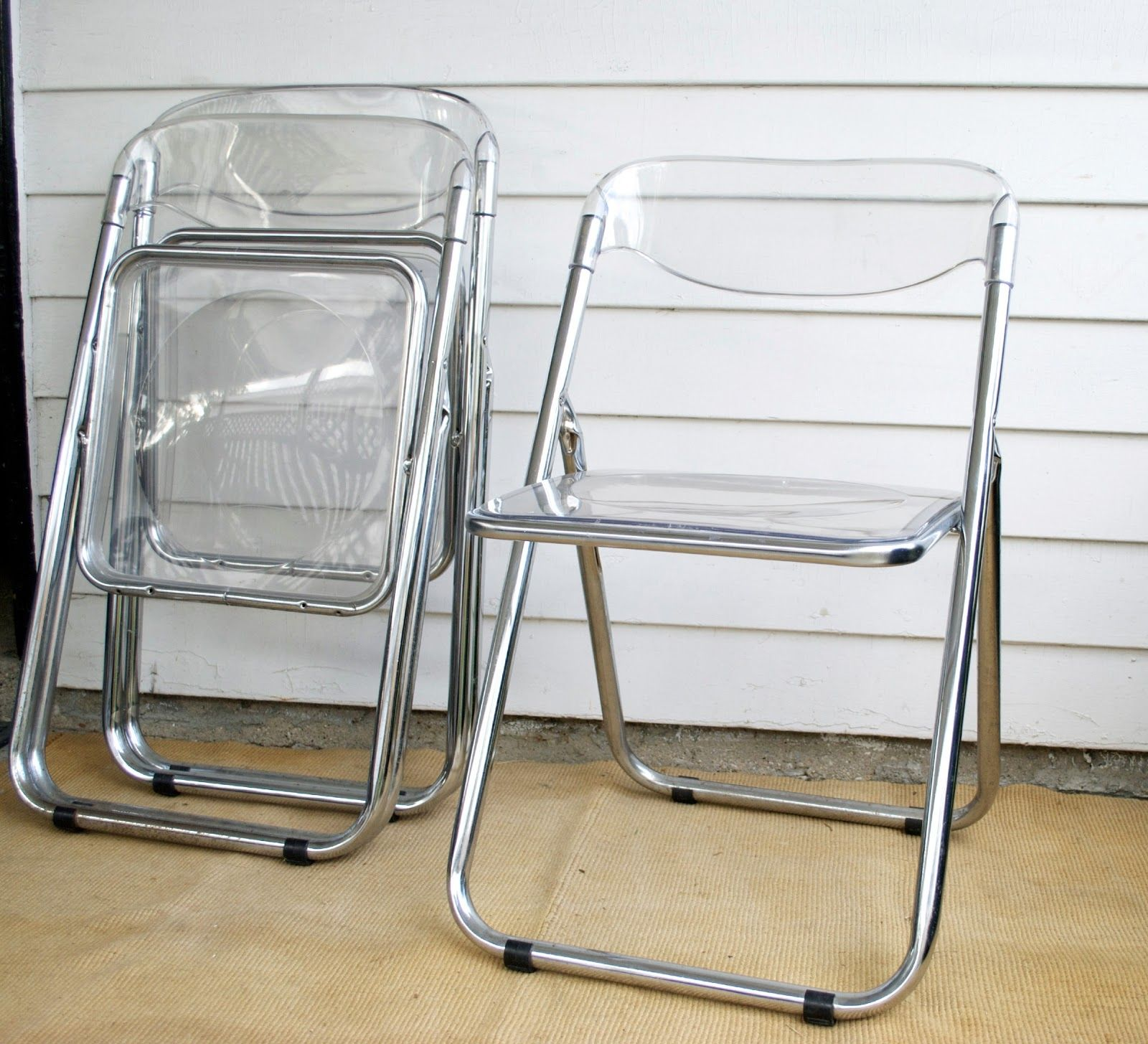 Clear Lucite Folding Chairs