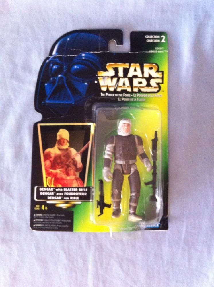 New 1996 Kenner Star Wars Power of the Force Dengar W// Blaster Rifle Holo Card
