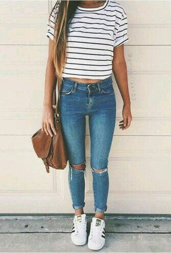 Stripes N Jeans Cute Summer Outfit Ideas For Teen Girls