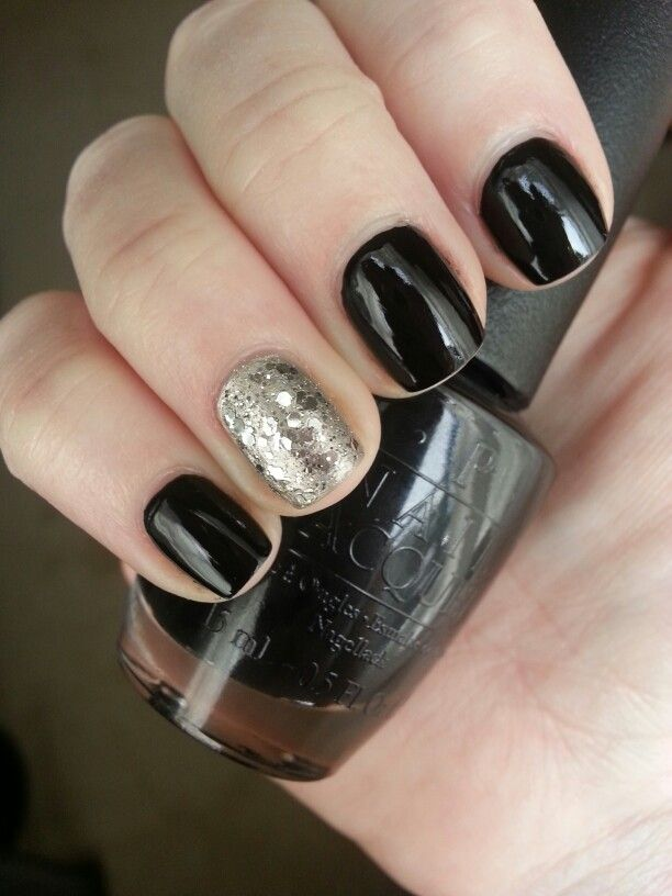 Black and silver nails - OPI black onyx & Essie set in stones | Nail ...
