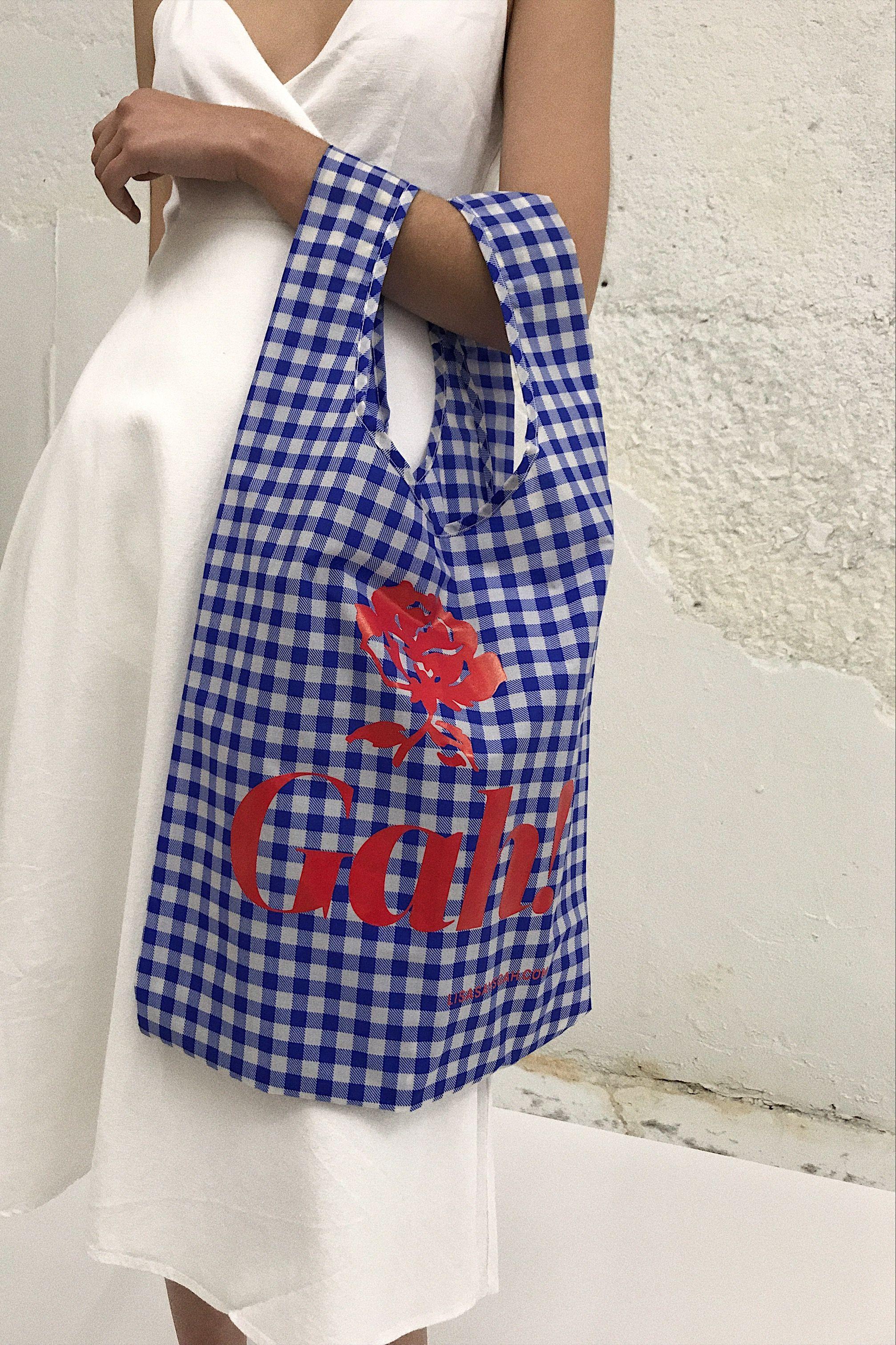 BAGGU X LISA SAYS GAH   Gah! Reusable Bag - Blue Gingham — Lisa Says ... c4b23aa3dd