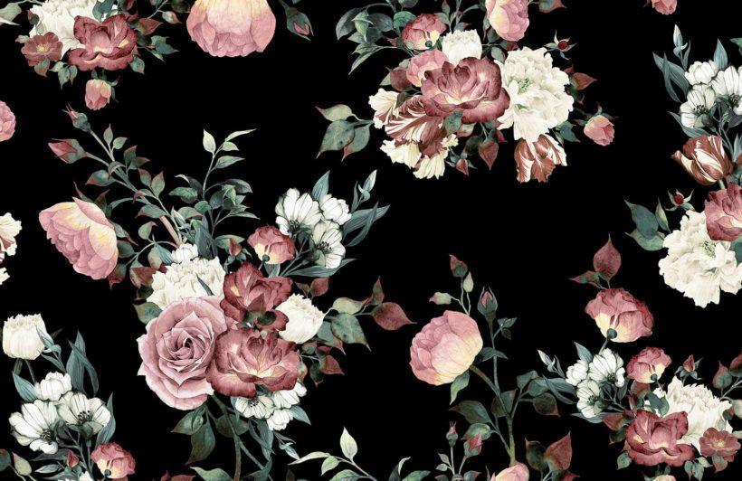 Vintage Pink Black Floral Wallpaper Mural Muralswallpaper Vintage Flowers Wallpaper Black Floral Wallpaper Vintage Floral Wallpapers