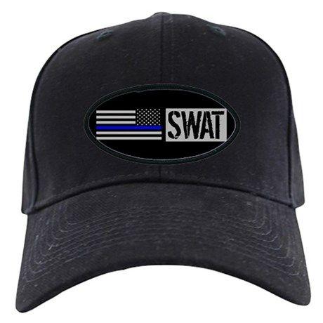 2eec80a5687 Police  SWAT (Black Flag Blue Line) Baseball Hat on CafePress.com