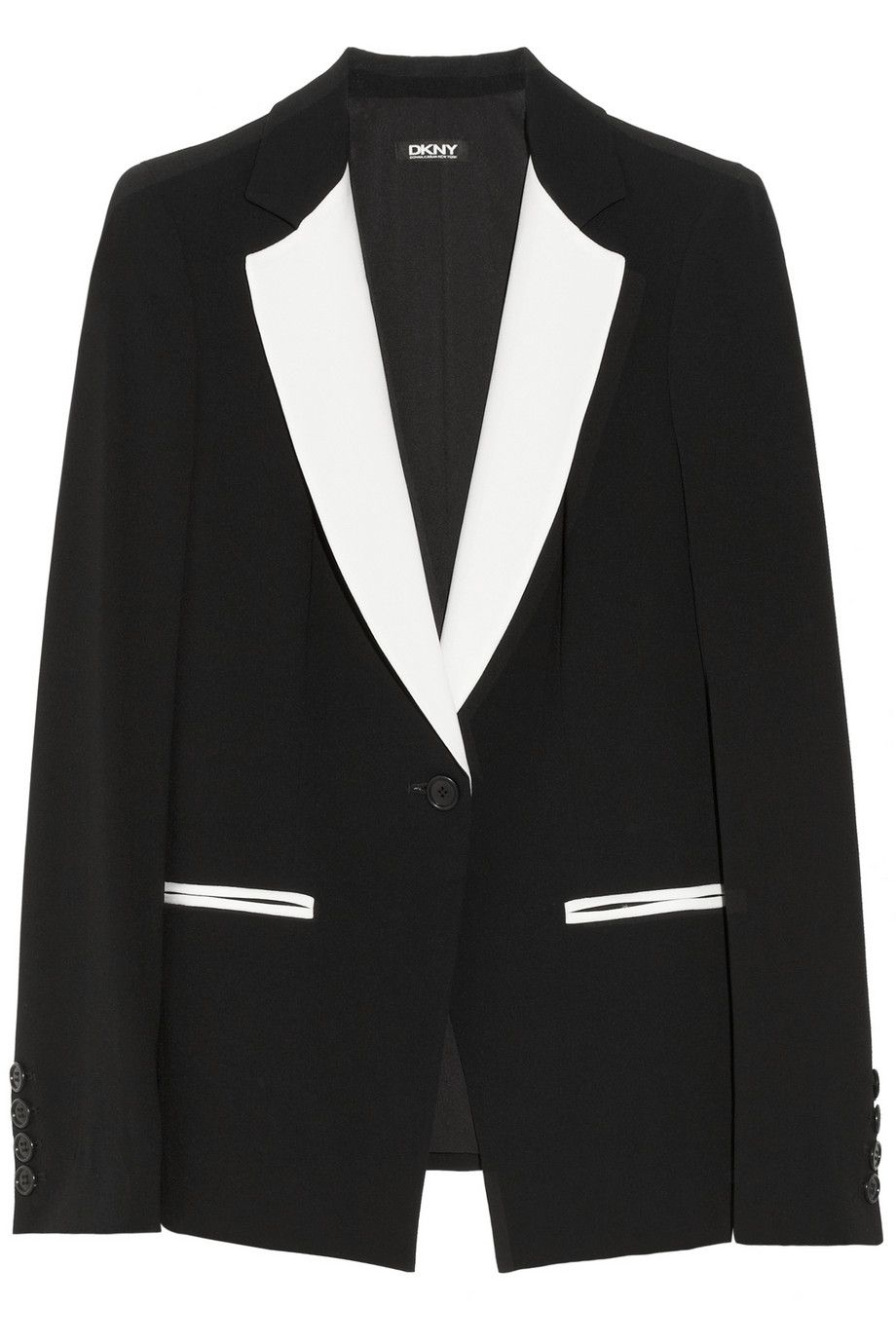 DKNY | Two-tone crepe blazer in black and white | NET-A-