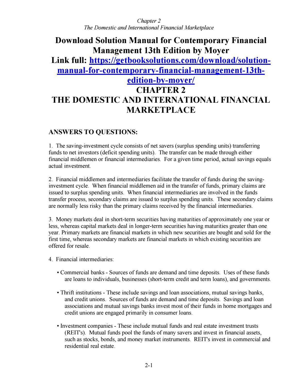 download solution manual for contemporary financial management 13th rh pinterest co uk Physics Solutions Manual Principles of Manufacturing Processes Metal Solutions Manual