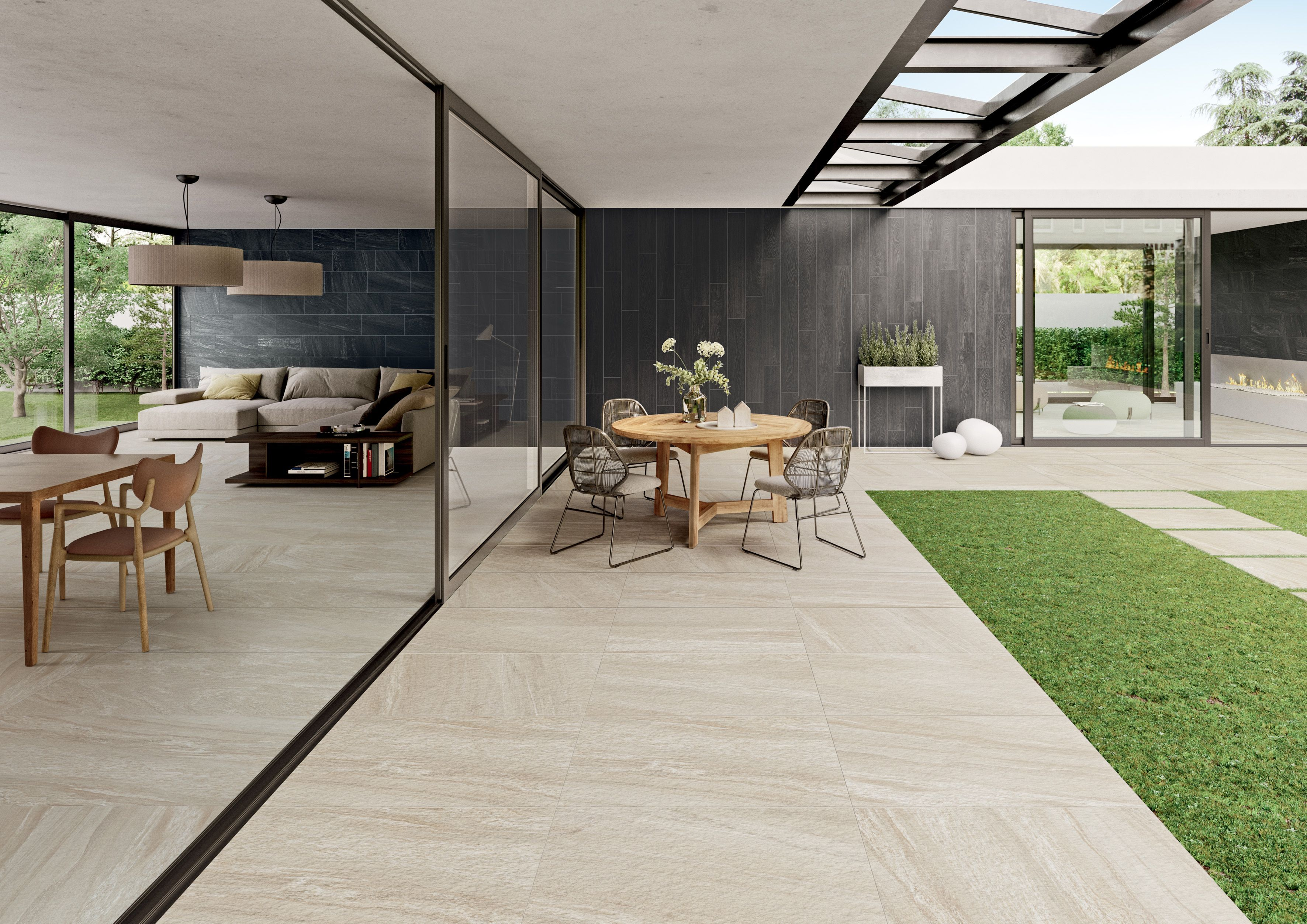 Indoor Outdoor Patio Area With Porcelain Paver Flooring With