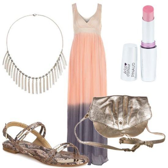 Vestido en rosa y lila. Ideal para una boda hippie en la playa