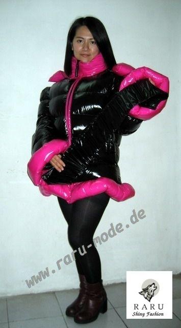 Wet-Look Glanz Nylon Parka Wintermantel Steppmantel black-pink