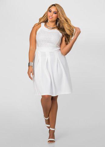 080be09416e Textured Eyelet Skater Dress-Plus Size Dresses-Ashley Stewart