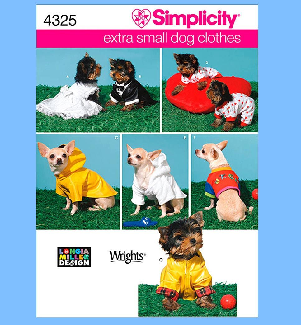 845 Simplicity 4325 Extra Small Dog Clothes Pattern Longia Miller ...