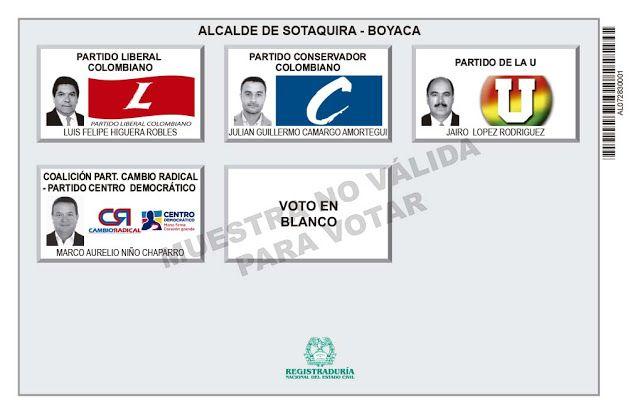 Tarjetón de elección para Alcalde de Sotaquira