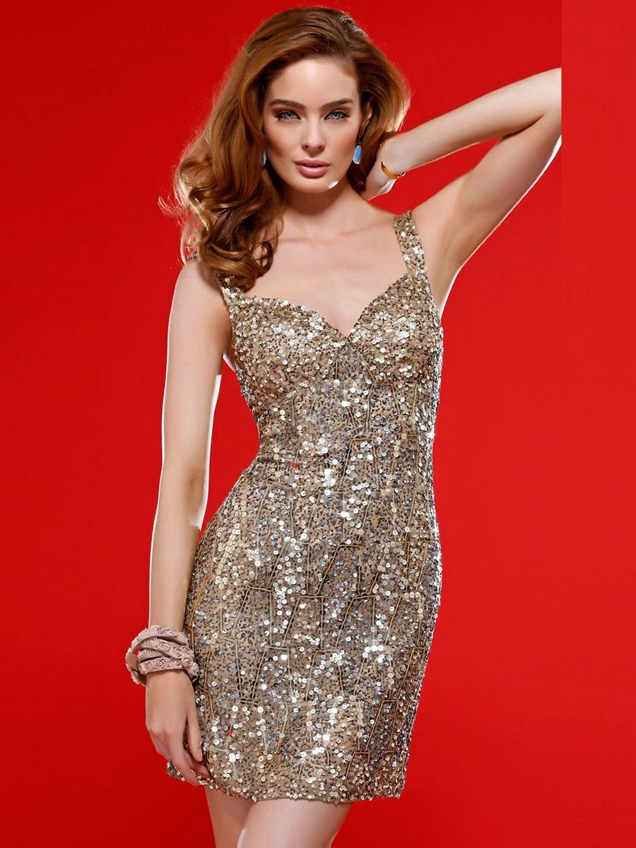 Short sequin vneck scala beaded silk dress with natural waistline