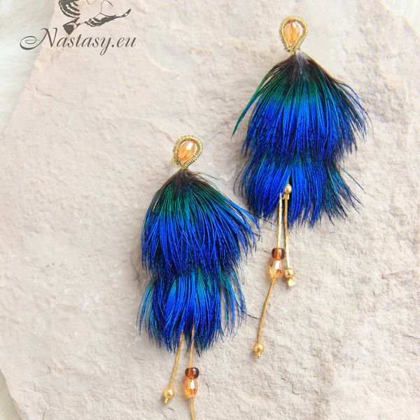 """Blue Feather Stud Earrings """"Ultramarine"""" Blue Small Feather Earring... ($28) ❤ liked on Polyvore featuring jewelry and earrings"""