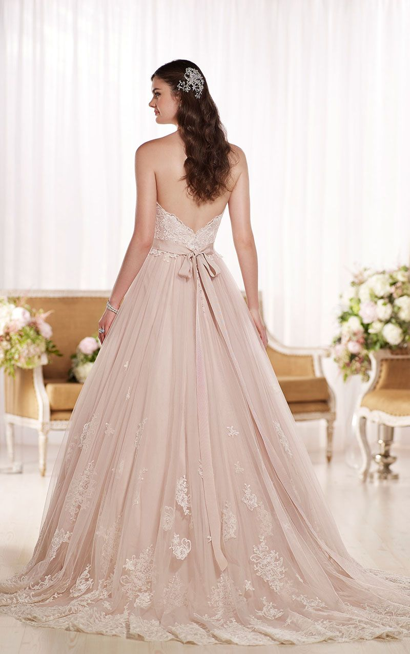 Open Back Ball Gown Strapless Blush Princess Lace Wedding Dress ...