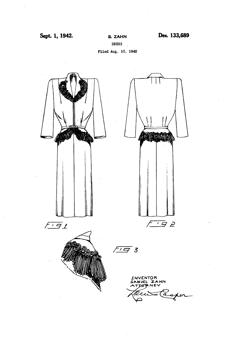 1942 DESIGN FOR A DRESS   Samuel Zahn
