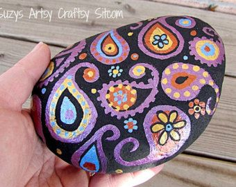 Hand painted Stone paisley purple, gold, copper and blue metallic