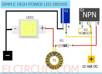 Simple 10w High Power Led Driver Circuit Power Led Led Drivers Led