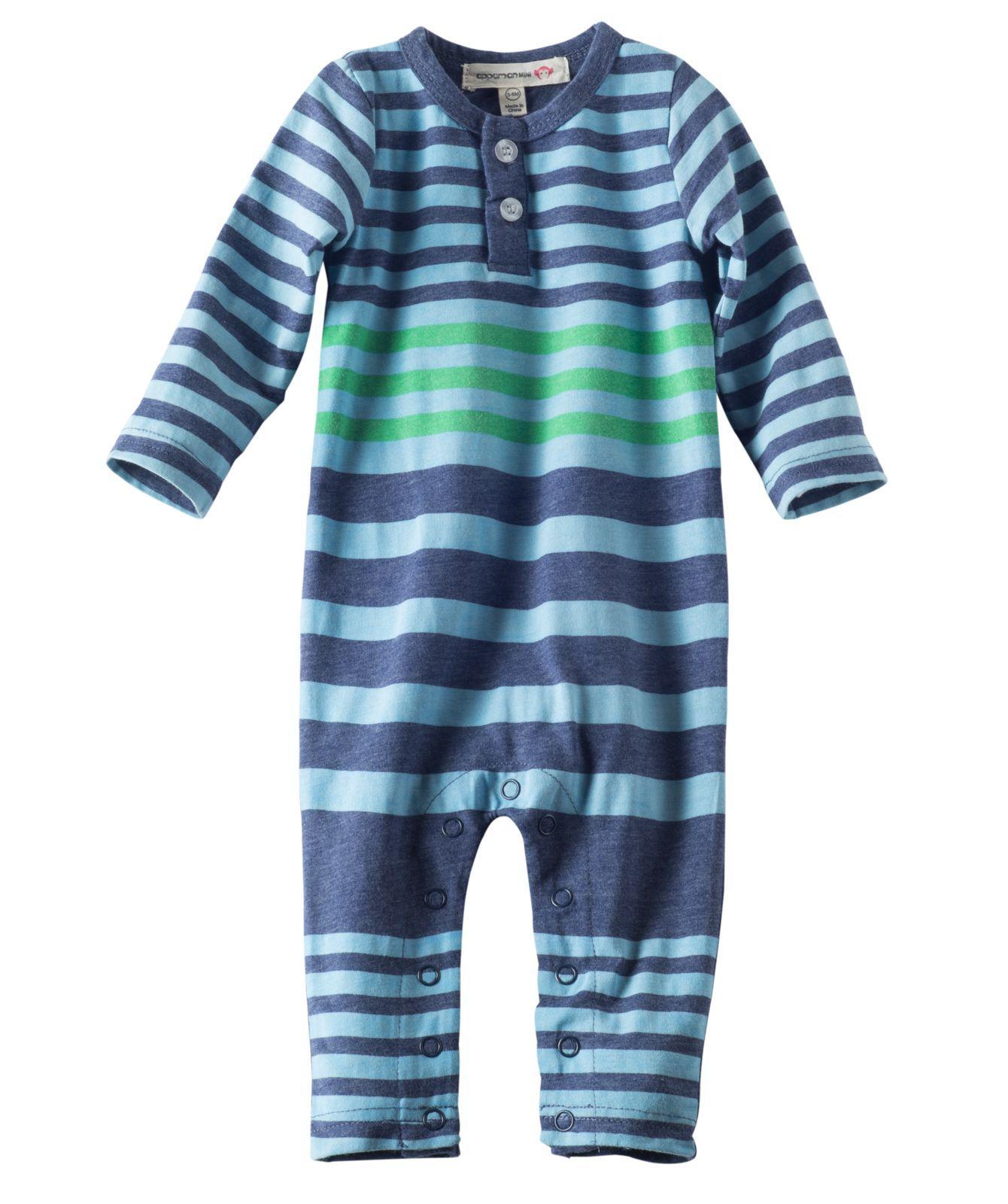 Baby Boy Henley Long Sleeve Romper Reverse Blue Stripe