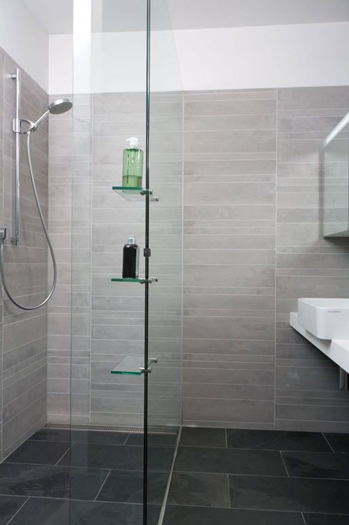 Beautiful Bathroom Design With Light Grey Tile Wall And Glass Shower Also  Dark Slate Stone Floor Plus White Hung Sink Part 6