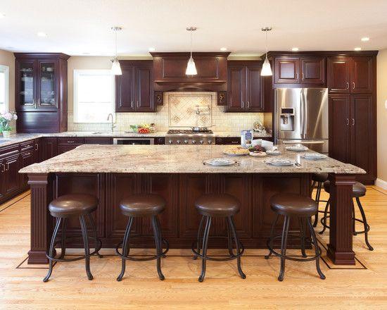 Cocina marron11 decomadera cocinas marrones bancos de - Large kitchen island with seating ...