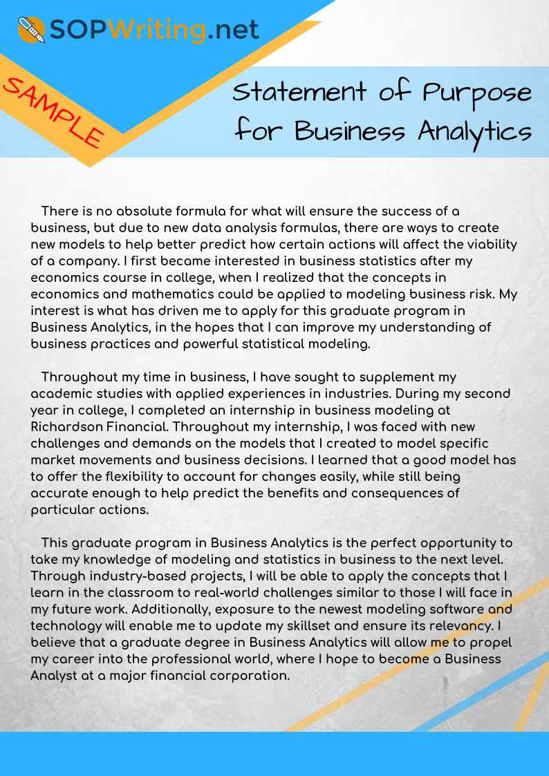 Sop For Busines Analytic Sample Analysi Law School Personal Statement And
