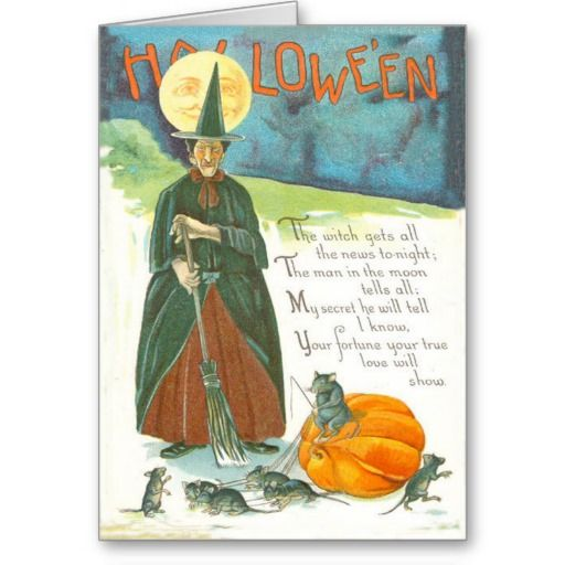 Witch Pumpkin Broom Man In The Moon Mouse Card | Zazzle.com