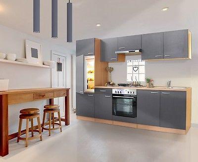 Details zu respekta küche einbau küchenzeile einbauküche küchenblock 270 cm buche grau