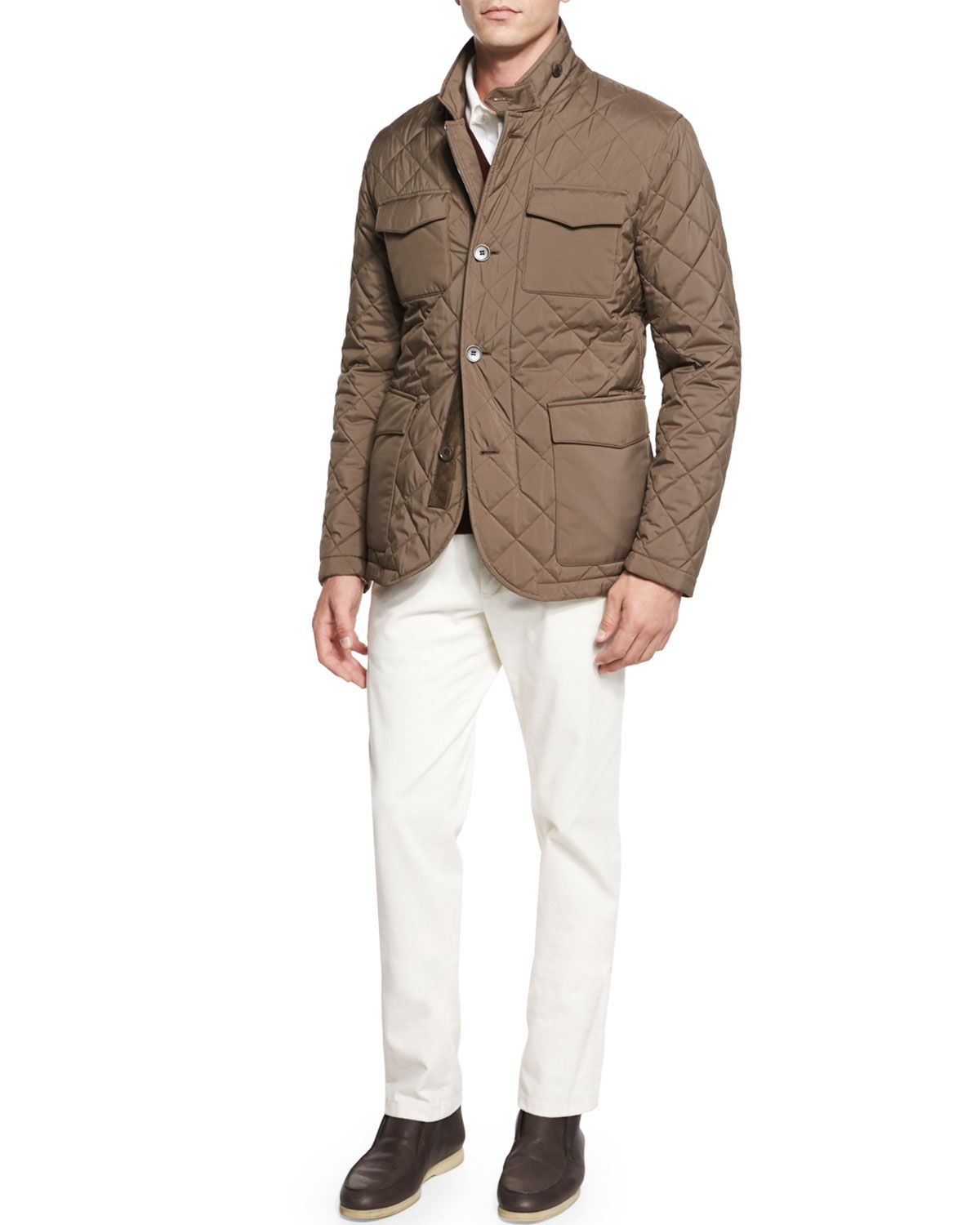 Wool cashmere flannel jacket  Loro Piana Journey DiamondQuilted Storm Jacket Baby Cashmere V