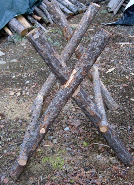 Log Sawhorse Sawhorse Bushcraft Shelter Wood Chop