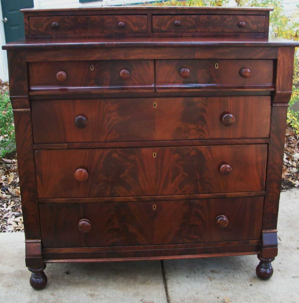 American Empire Antique Dresser Chest Crotch Flame Mahogany Thomas Day 1825