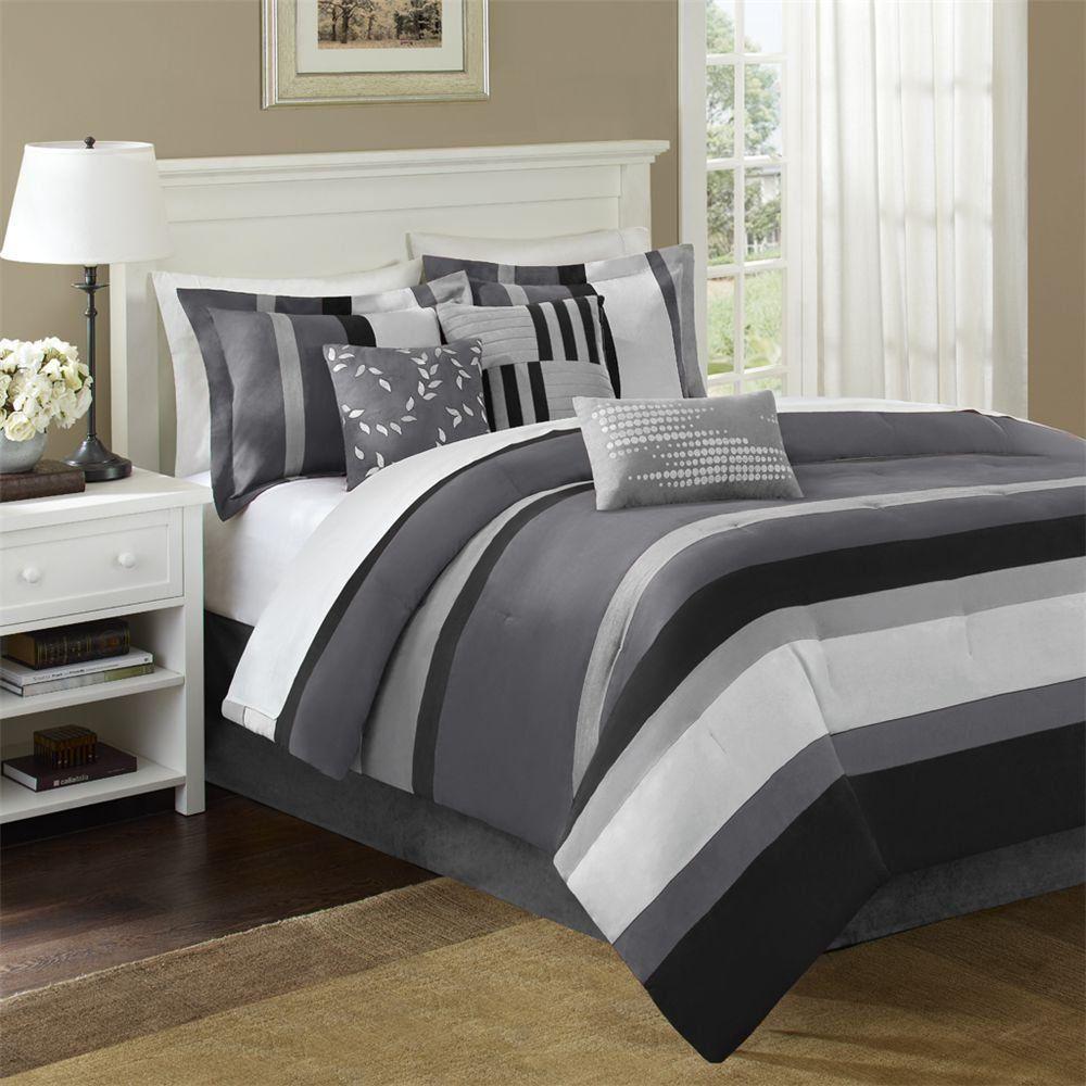 Grey Comforter Sets King Size Black and Gray California