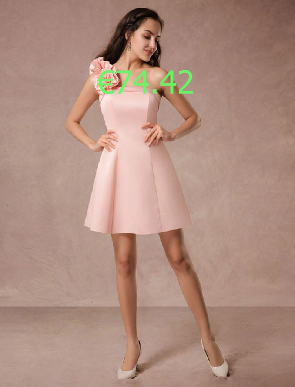 Kurze Prom Kleid rosa Satin One-Shoulder Rüschen Kleid a ...