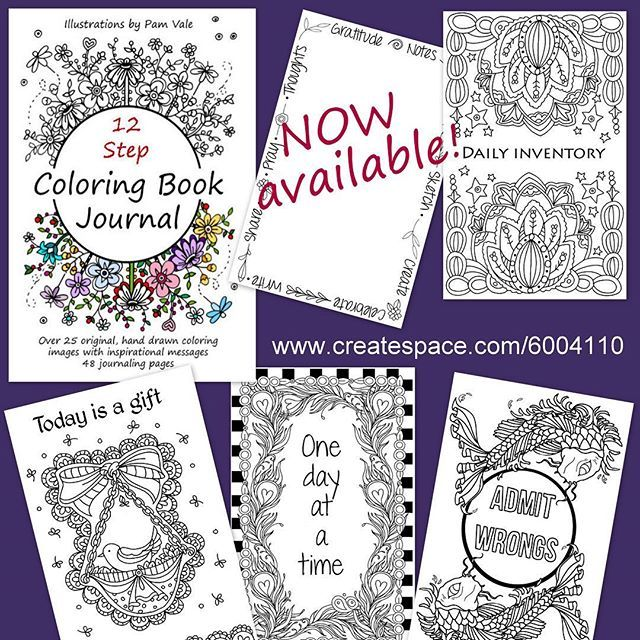 My 12 Step Coloring Book Journal Is Now Available Original Drawings To Color