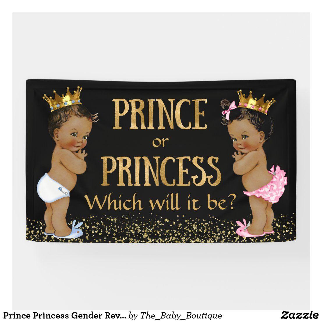 Prince Princess Gender Reveal Baby Shower Banner Zazzle Com In 2021 Baby Shower Gender Reveal Gender Reveal Banner Baby Gender Reveal Party