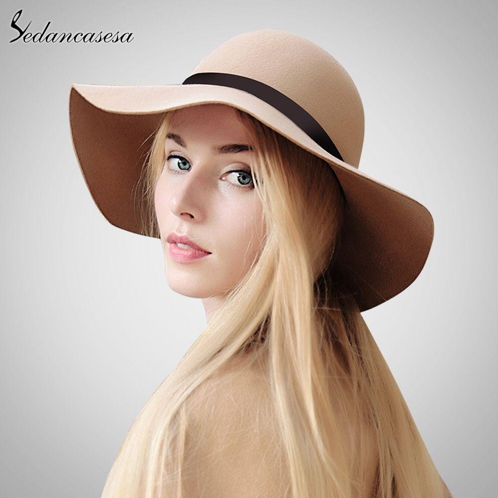 Lady Fedora Floppy Hat European American Wide Brim Hat With Australian Wool  Female British Fedora Hat Great dc56b8f23af6