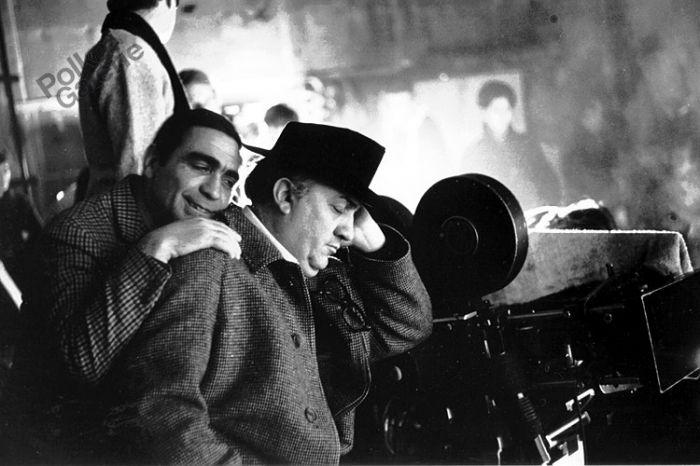 Federico Fellini e Giuseppe Rotunno sul set di Satyricon, 1969