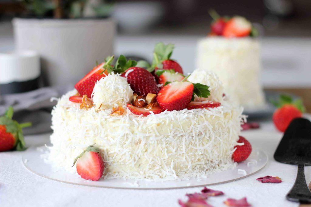 White Chocolate Coconut Raffaello Layer Cake Recipe Baking Chocolate Coconut Cake