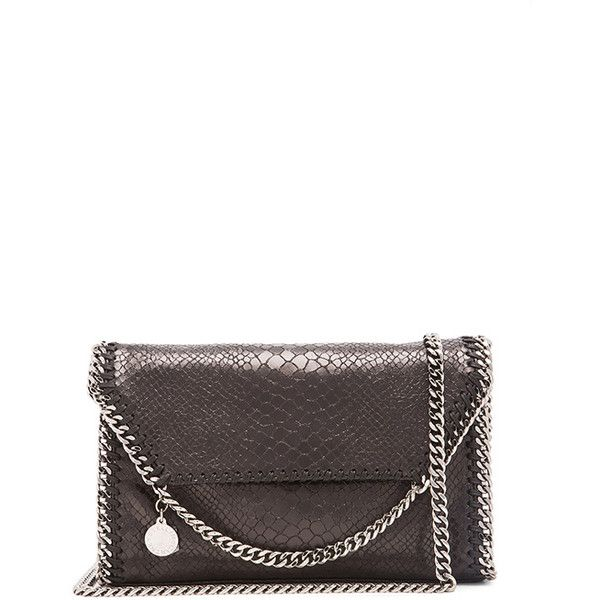 Stella McCartney Python Print Mini Falabella Shoulder Bag (930 CHF) ❤ liked on Polyvore featuring bags, handbags, shoulder bags, python purse, chain shoulder bag, accessories handbags, chain strap shoulder bag and snakeskin purse