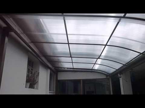 techo corredizo con policarbonato en dos secciones a control remoto