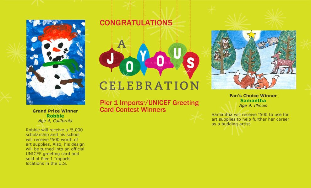pier 1 imports careers. Pier 1 Imports®/UNICEF Greeting Card Contest Winners Imports Careers
