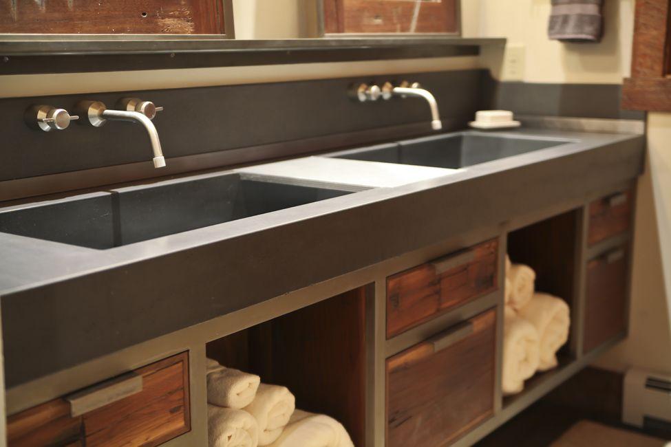 Concrete Trough Sink And Floating Steel Walnut Vanity