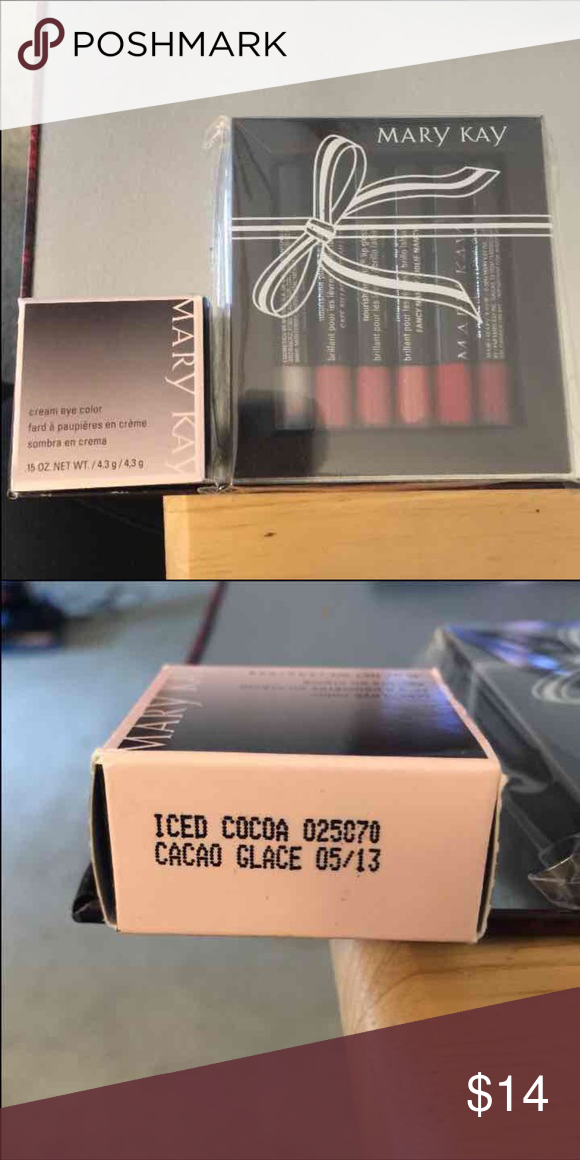 MARY KAY LIP GLOSS AND EYE SHADOW Brand new Mary Kay cream eye shadow. It's a cocoa gold color. And a brand new lipgloss set! Can sell together or separately!   Will take best reasonable offer! Comment with questions  Check out my other posts!:) Mary Kay Makeup