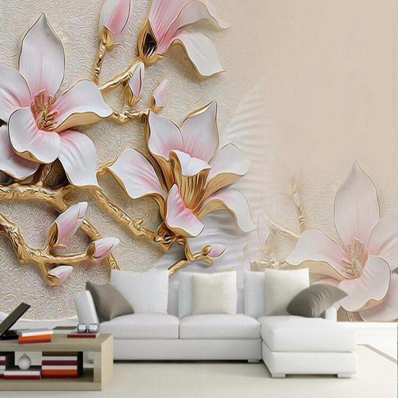 3d Oboi Hd Tisneniem Cvety Magnolii Foto Freska Gostinaya Domashnij