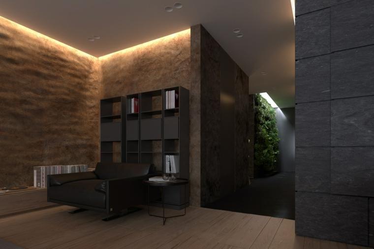 Dunkle Innenarchitektur - zwei Modelle moderner Häuser Haus
