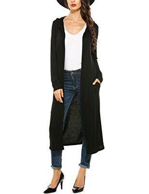 32525d852c Beyove Women s Long Sleeve Waterfall Hoodies Open Front Maxi Cardigan  Sweater
