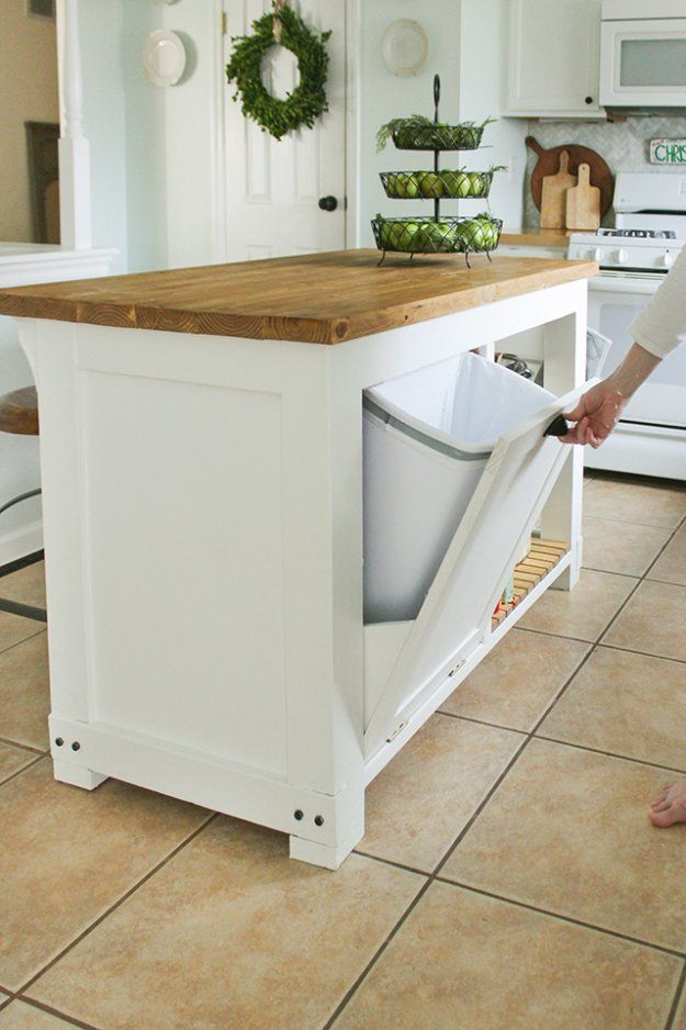DIY Storage Ideas -DIY Kitchen Island with Trash Storage - Home Decor and Organizing Projects for The Bedroom, Bathroom, Living Room, Panty and Storage Projects - Tutorials and Step by Step Instructions for Do It Yourself Organization http://diyjoy.com/diy-storage-ideas-organization