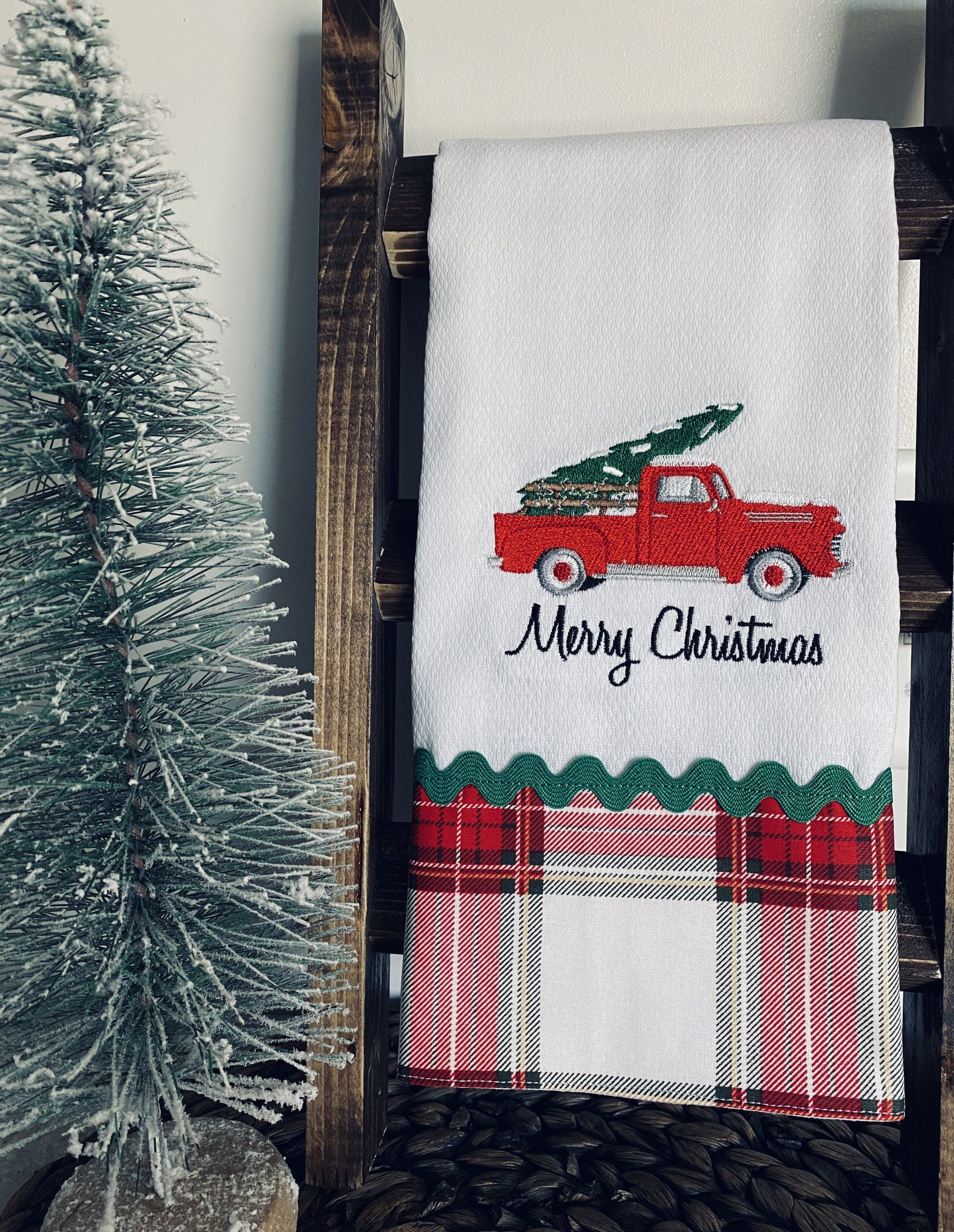 Excited to share the latest addition to my #etsy shop: Red Truck with Christmas Plaid Kitchen Towel #christmas #redtruck #coffeebar #tieredtraydecor #christmasplaid