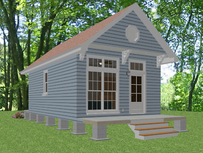 Tiny House Home Plans 1 bed Cottage 448 sf---PDF FILE FULL PERMIT SET