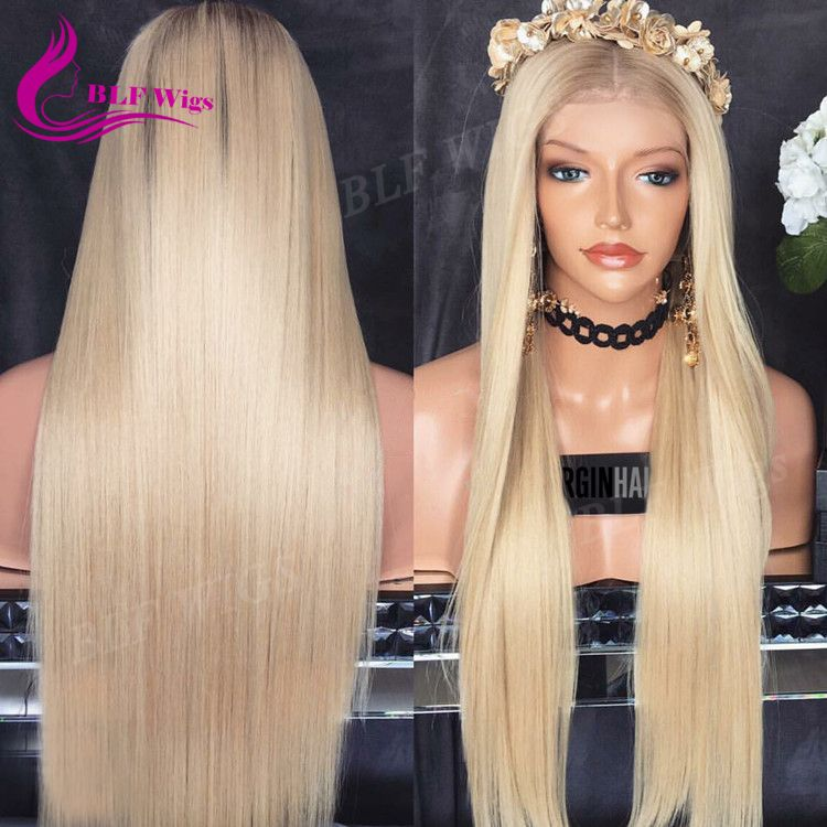 877939e6a Silk Straight Long Blonde Human Hair Wig, Asian Women Hair Wig, Natural Hair  Full Lace Wig for White Women