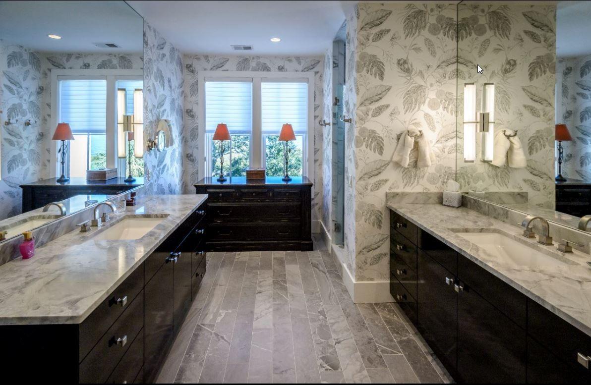 Master Bath With Super White Natural Quartzite Countertops And Porcelain Stone Look Tile Flooring Modern And Sophisti Countertops Stone Look Tile Granite Tile